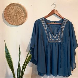Love stitch blue embroidered blouse